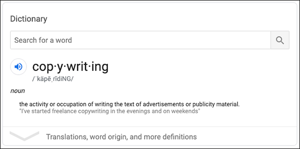 Copywriting definition from Google search