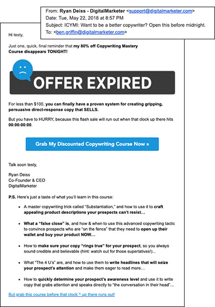 A DM email with killer copywriting