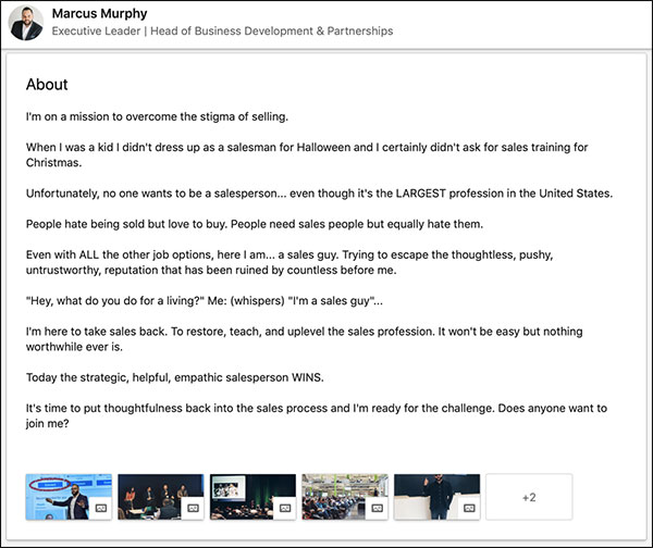Marcus Murphy's LinkedIn summary