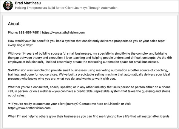 Brad Martineau's LinkedIn Summary