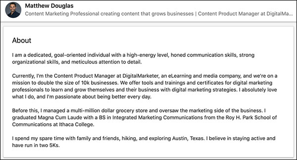 Matt Douglas' LinkedIn Summary