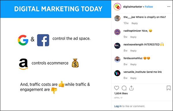 DigitalMarketer Instagram Post with emojis that performed really well
