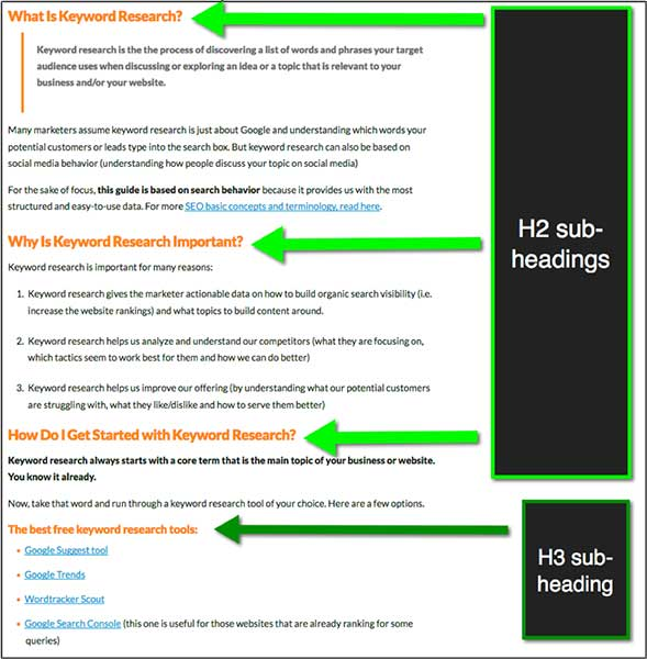 Additional Headline structure example for engaging content