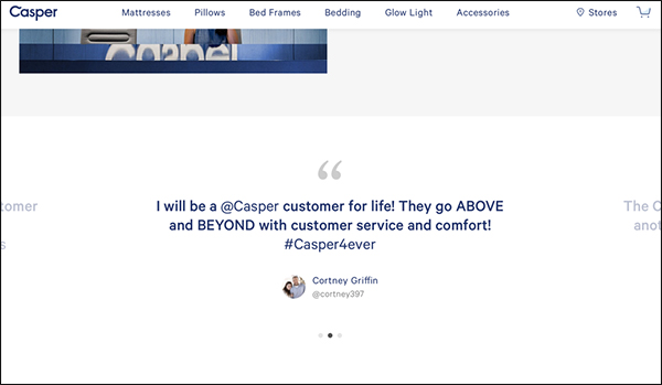 Casper landing page testimonials