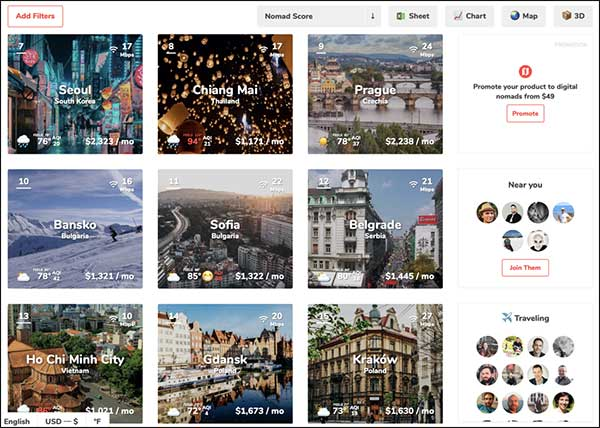 NomadList landing page with testimonials and social proof