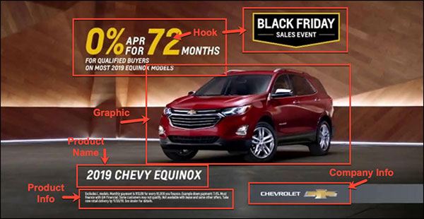 Chevy ad with all the same marketing elements