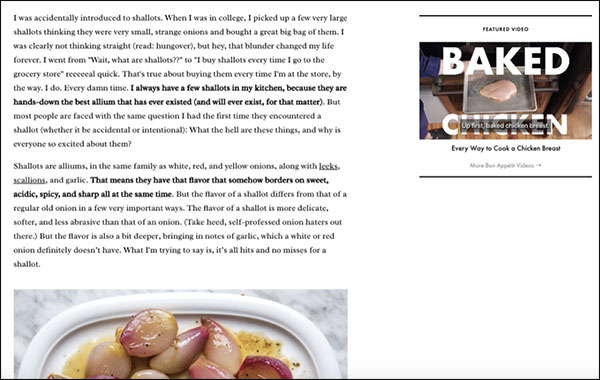 Example of a brand voice in Bon Appétit's article on shallots
