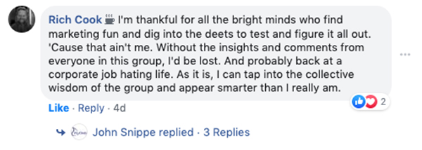 Rich Cook writes a Facebook comment talking about how he's grateful for the bright minds who find marketing fun