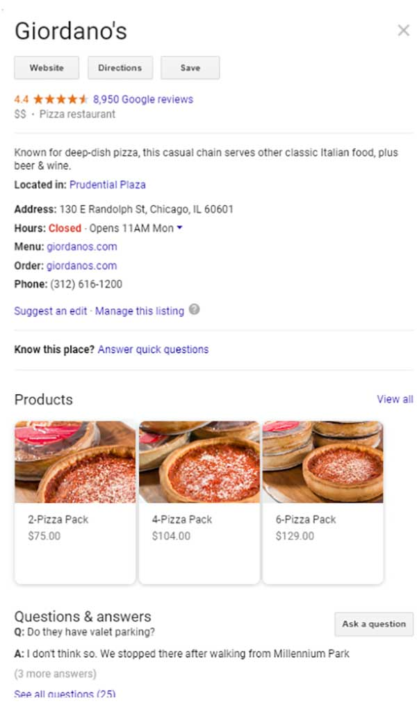 An example of an optimized Google My Business profile