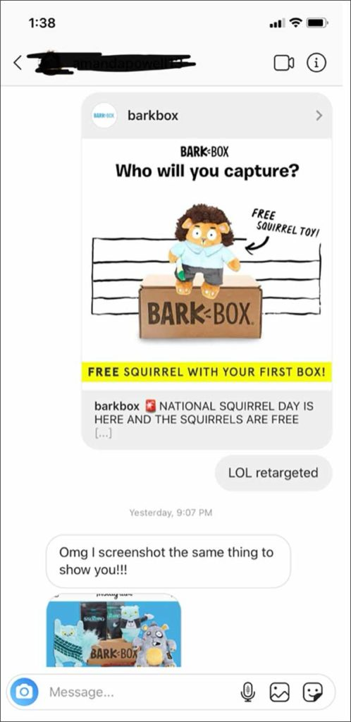 "An Instagram DM between 2 DM team members with a BarkBox ad saying ""Who will you capture"" featuring a squirrel toy"