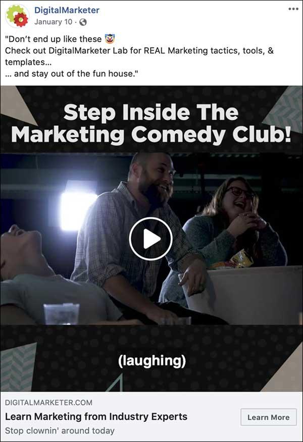 DigitalMarketer's Step Inside The Marketing Comedy Club Facebook video ad