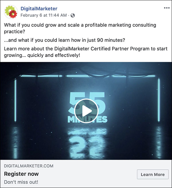 DigitalMarketer's Webinar Facebook ad