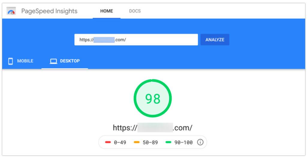 Resultados de PageSpeed Insight para escritorio con una puntuación de 98
