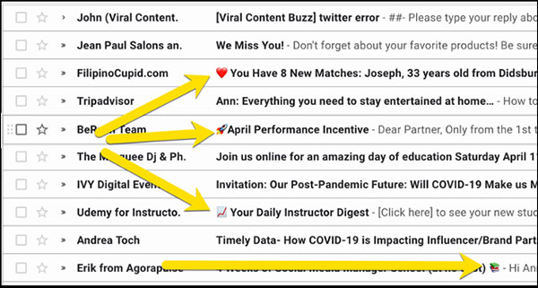 emojis in your email campaign subject lines