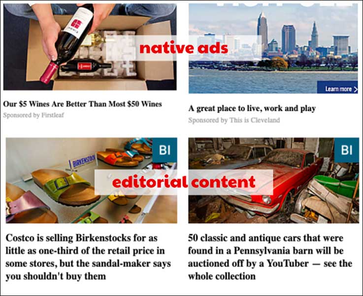 Examples of native ads and editorial content