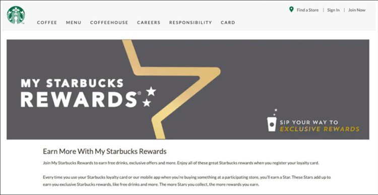 Starbuck's rewards landing page