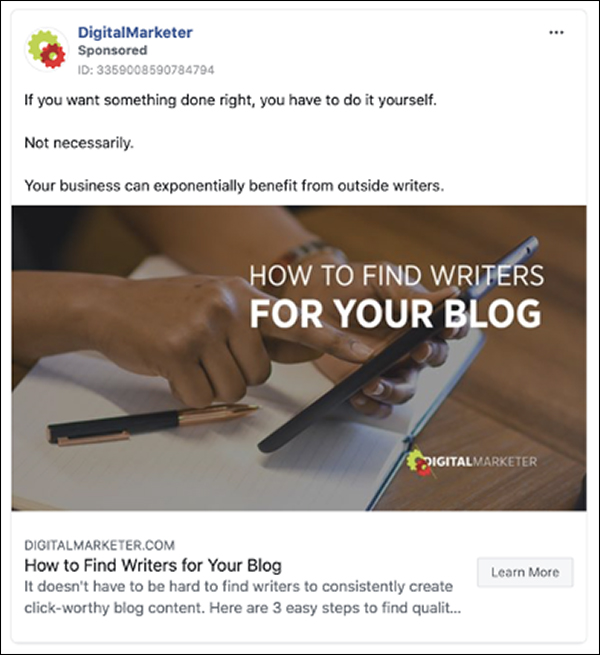 DigitalMarketer's How To Find Writers For Your Blog Facebook ad