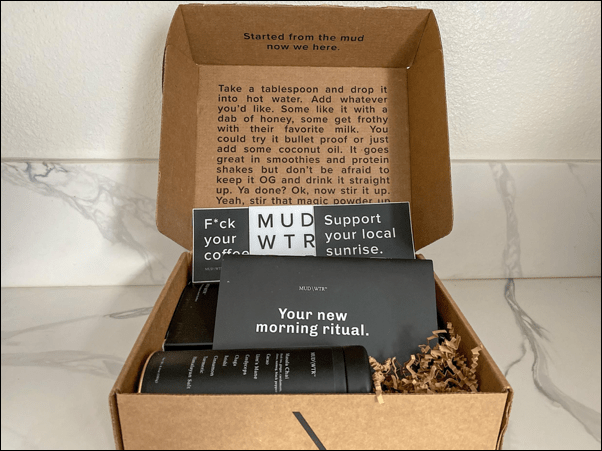 A box with a shipment of MUD/WTR and some extra bonuses