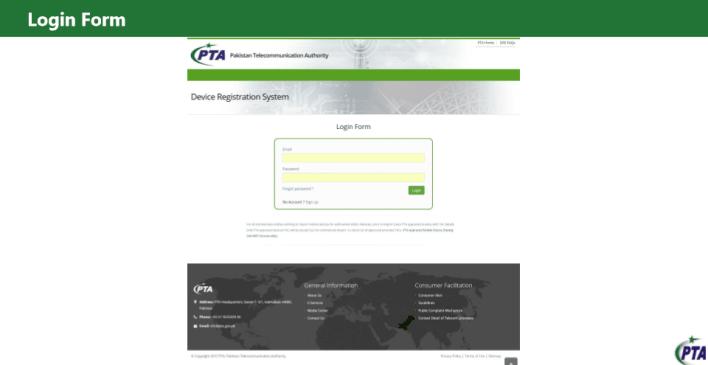 get NOC for import mobile PTA login  window screen shot