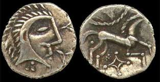 image of a coin from the Iceni, showing a head with spiky hair