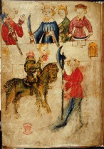 From Sir Gawain and the Green Knight. Arthur and Guenevere at the high table, Gawain with the headless Green Knight
