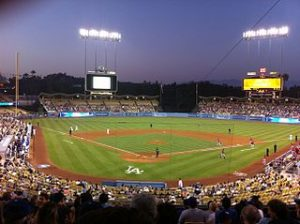 A picture of a night game at Dodger Stadium in Los Angeles.