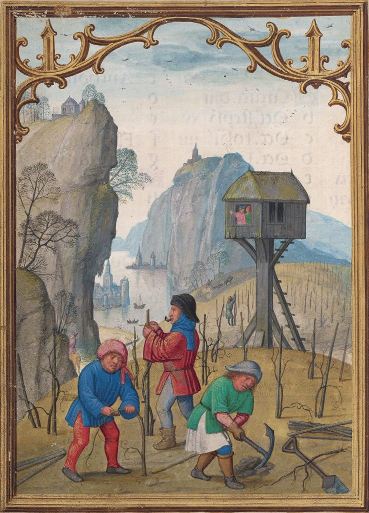 February calendar image from the Morgan Library's DaCosta hours showing workers staking and pruning vines, plowing a field, a river with boats, and a watchtower overlooking the river