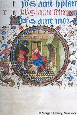 Detail image from a rondel showing a man warming himself in front of a fire, sitting on a low bench in his stockings,