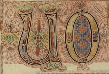 British Library Cotton MS Nero D IV f. 139r. detail showing the U and O of Quoniam