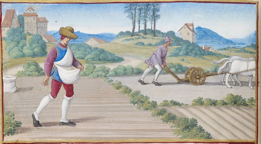 The labors of October; one man is sowing grain, probable winter wheat, while another plows with a two-horse team