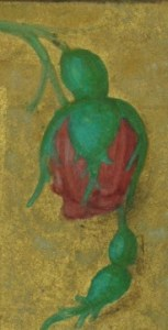 Detail from the border showing, maybe, a rose in bud
