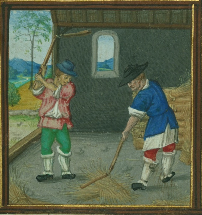 August calendar image for Walters W. 425 showing two men with flails threshing grain
