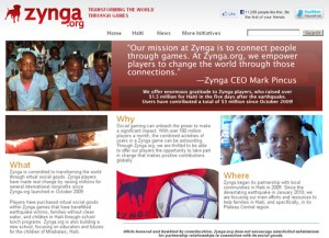 Zynga donating money for the greater good
