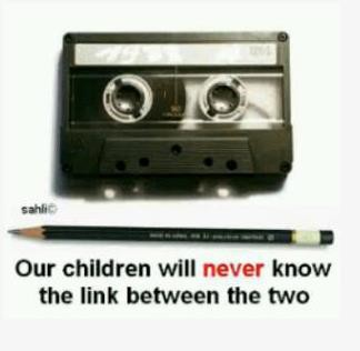 the cassette tape and the pencil
