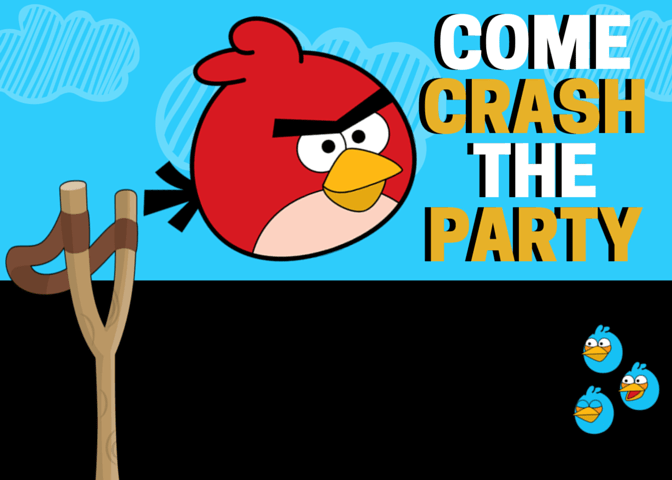 Angry Bird Crash The Party Invitation Free