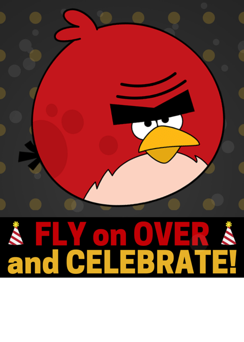 Angry Bird Invitation Fly on Over