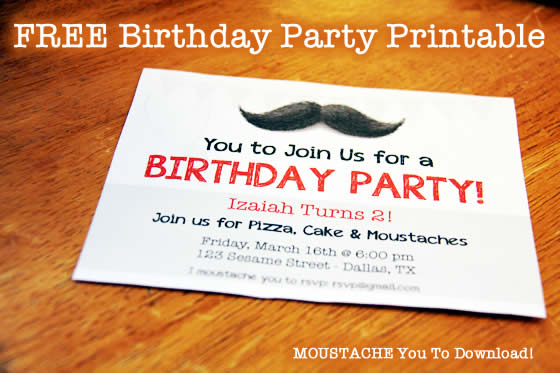 free birthday invitation download moustache printable