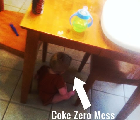 coke zero spilled