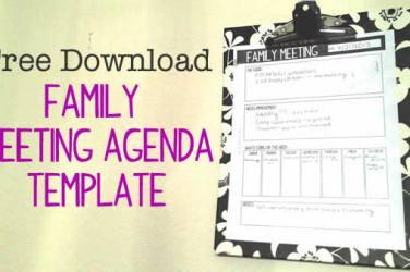 family meeting agenda download