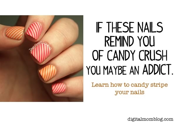 Candy Crush Striped Nails