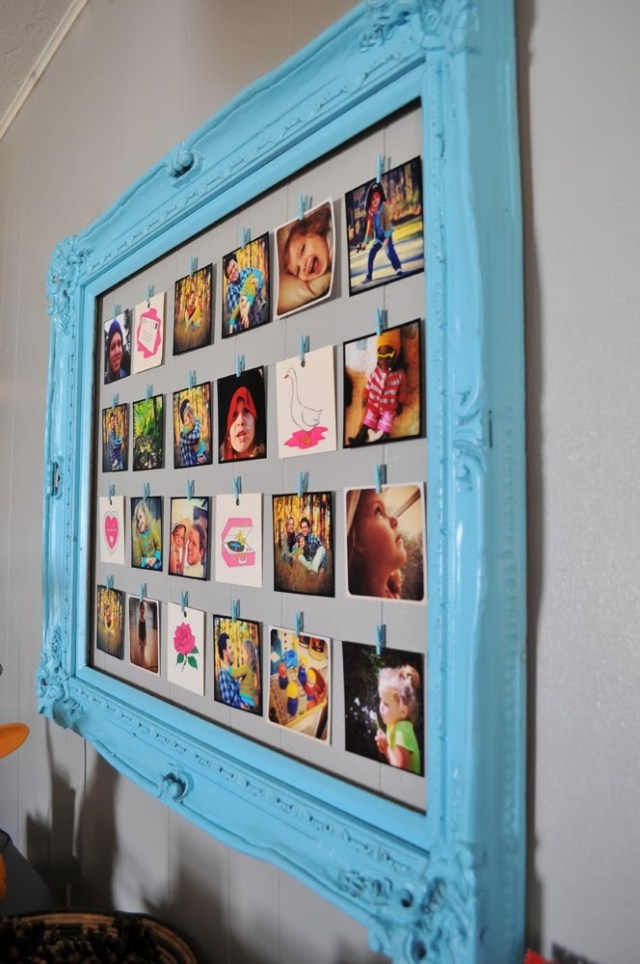 Photo wall featuring a thrift store picture frame