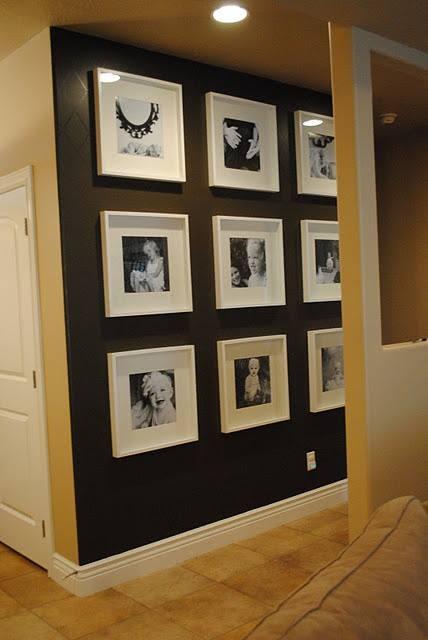 Photo wall idea for a black wall