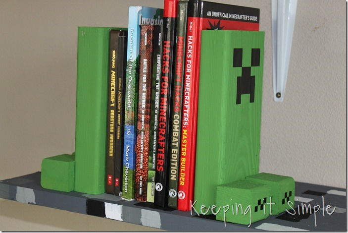 DIY Minecraft Bookends made with 2 by 4