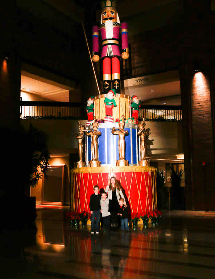 The largest nutcracker in Texas in the Hilton Anatole Lobby