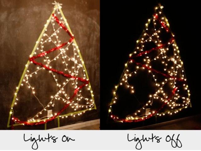 lighted christmas tree wall