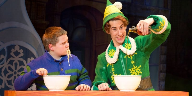 elf on broadway in dallas buddy the elf spaghetti syrup