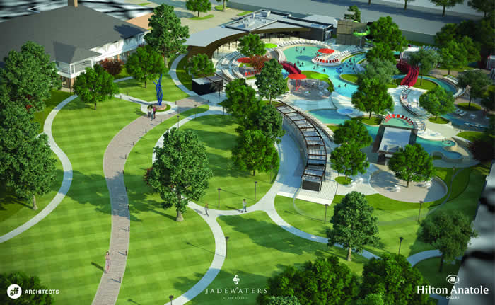 the estimated $15 million project will convert a portion of the hotel's seven-­?acre Sculpture Park and Tennis Courts into a world-­?class water facility, unparalleled in North Texas. Designed to attract leisure and family guests throughout the summer season, the project will encompass approximately three acres and include multiple heated swimming pools and recreation areas, as well as enhanced walking paths and green spaces. New food and beverage options will also be added in the form of a new outdoor restaurant and bar, as well as a separate 23-­?seat swim-­?up bar. The project is scheduled for completion by July 22, 2016. The project's sophisticated design, architecture and landscaping will draw inspiration from the modern Asian influences present throughout the Hilton Anatole Hotel. Comprised of a leisure pool, beach-­?entry family pool, lazy river, luxury cabanas, and splash zone with two 180-­?foot slides, the new addition will offer a relaxed upscale atmosphere complete with artwork displayed throughout the pool area. The full complex will be open from July 22 through Labor Day this year, with the leisure pool operation year round. The project will also include two new event lawns, each with the capacity to hold 200 people, complementing the hotel's existing park space and ability to host large outdoor functions for up to 3,000 people. Groups will also be able to utilize the poolside