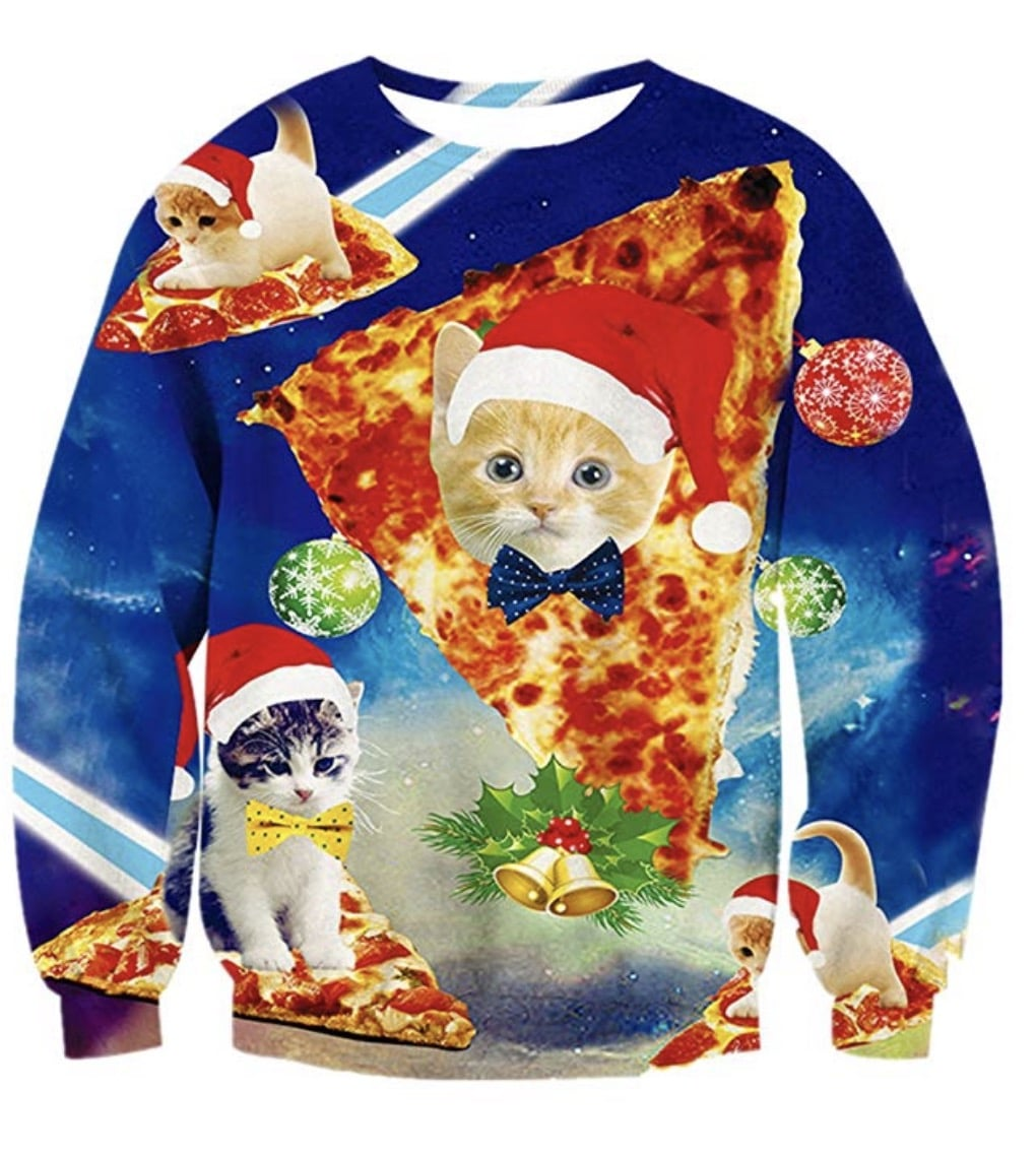 cat pizza christmas sweater