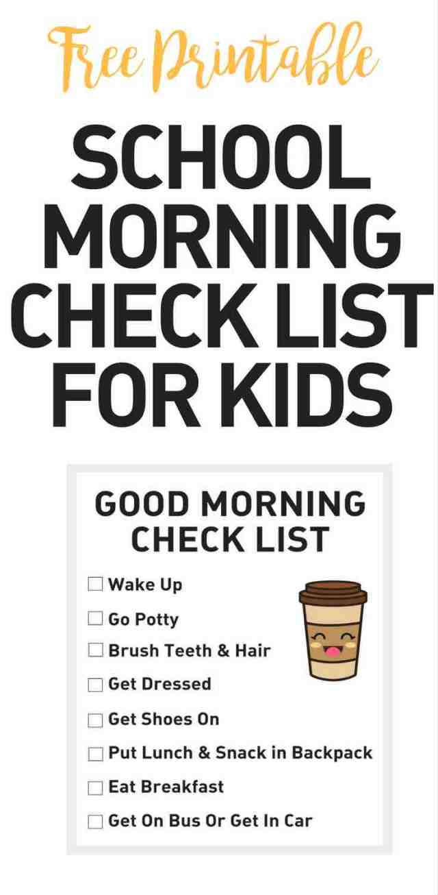 school morning check list for kids - creating a school morning routine