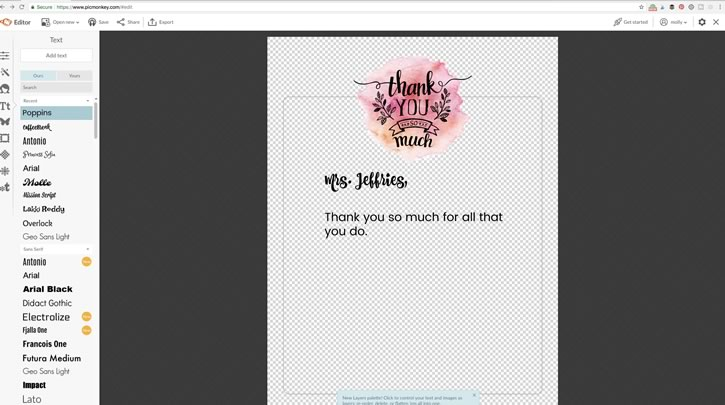 Picmonkey Tutorial Thank you notes